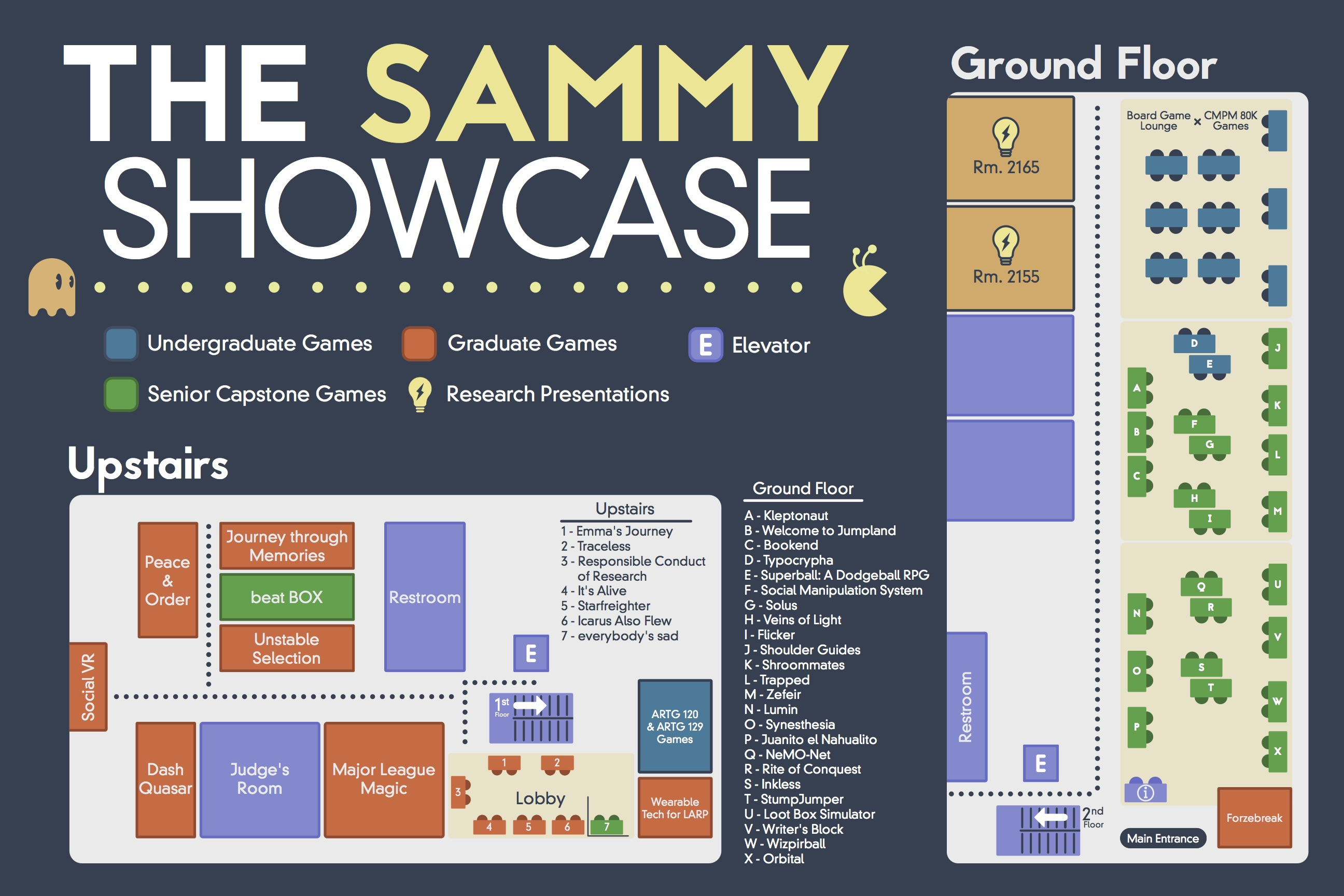 Exhibition map for the 2018 Sammy Showcase
